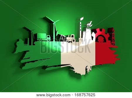 Energy and Power icons set and grunge brush stroke. Energy generation and heavy industry relative image. Agriculture and transportation. Flag of the Italy. 3D rendering