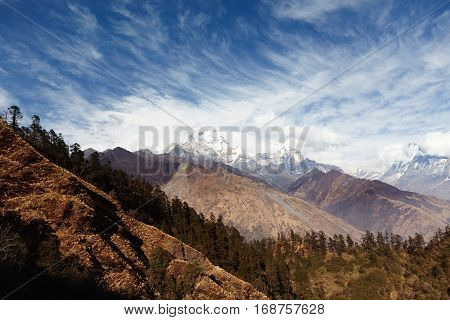 Mountains, Highlands And Altitude Concept. Beautiful View Of Valley With Dense Forest And Desolate S