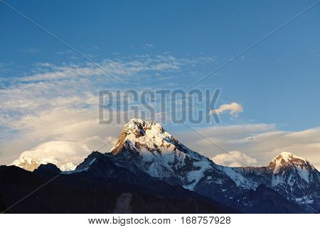 Pure Winter Day High In Mountains. Amazing View Of Mountain Top Covered With Ice And Snow And Lit Wi