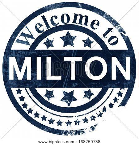Milton stamp on white background