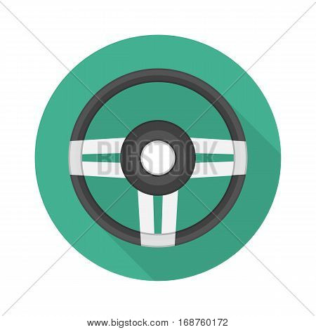 Steering Wheel sign. Gray monochrome car steering wheel vector icon with long shadow for web applications or games. Auto service, driving school, repair center, car detail concept.