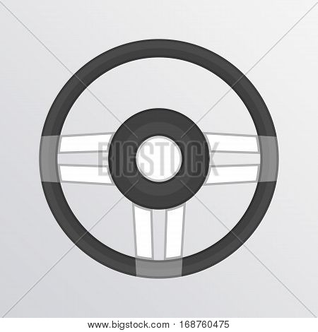 Steering Wheel. Gray monochrome illustration of car steering wheel vector icon for web applications or games. Auto service, repair center, car detail concept.
