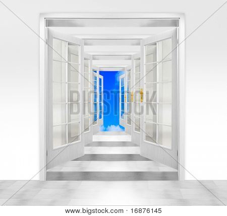 Door to heaven. Conceptual image. Success metaphor.