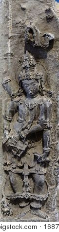 KOLKATA, INDIA - FEBRUARY 09:  Corner Pillar, from 12th century found in Halebid, Kamataka now exposed in the Indian Museum in Kolkata, West Bengal, India on February 09, 2016.