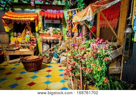 Colorful market selling flowers, vegetables, fruits and more