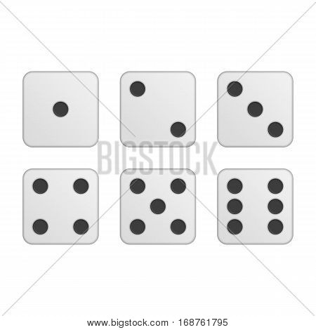 Dice vector icons. Six simple dice for game, modern rounded shape. Modern flat style illustration. EPS 10.
