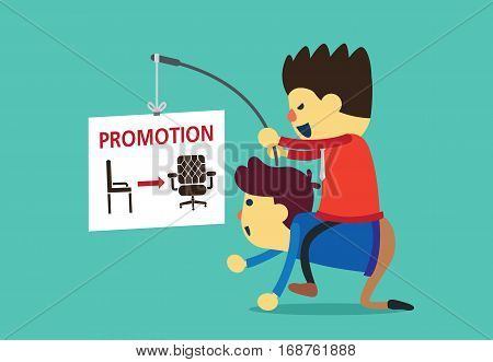 Businessman using a job promotion for employee motivation to work. Business concept.