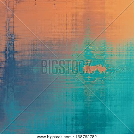 Vintage decorative texture with grunge design elements and different color patterns: yellow (beige); brown; blue; red (orange); cyan