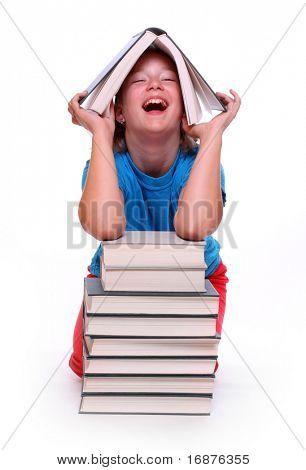 Chica feliz con libros. Regreso a la escuela.