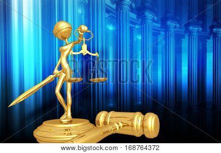 Lady Justice Legal Gavel Concept 3D Illustration
