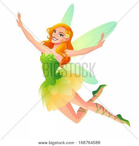 Beautiful cute flying floral fairy in green dress with dragonfly wings. Cartoon style vector illustration isolated on white background.