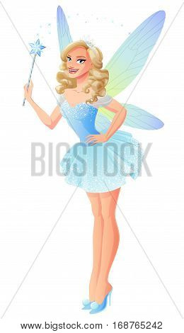 Beautiful tooth fairy in blue outfit pointing with magic wand and dragonfly wings. Cartoon style vector illustration isolated on white background.