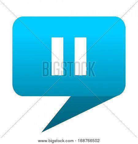 pause blue bubble icon