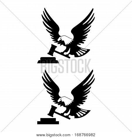 Eagle bird with hammer and anvil isolated on white backgroundicon. heraldic emblem of powerful wild falcon with stretching clutches. Symbol of eagle hawk predator for sport team mascot shield, company badge, guard service, hunting club label