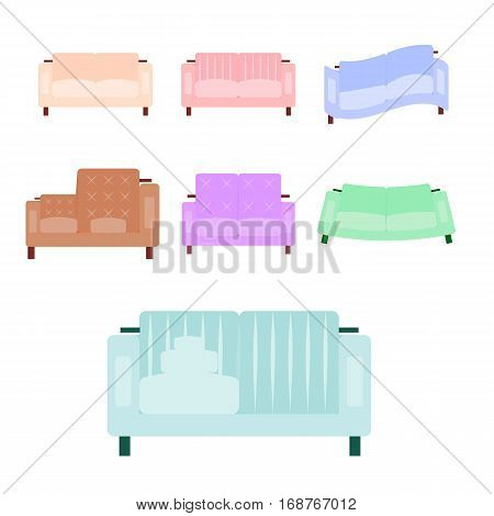 Sofa icon set in flat and cartoon style isolated on white background