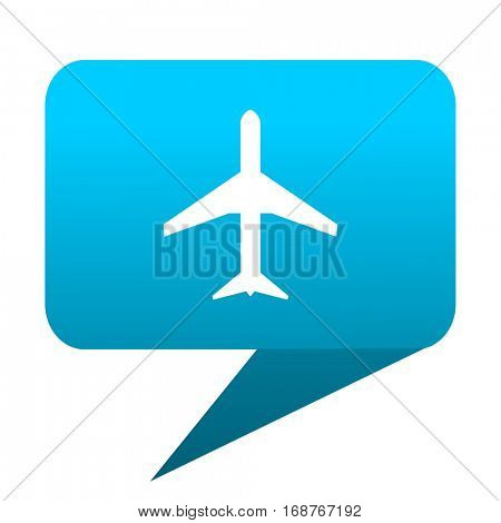 Plane blue bubble icon