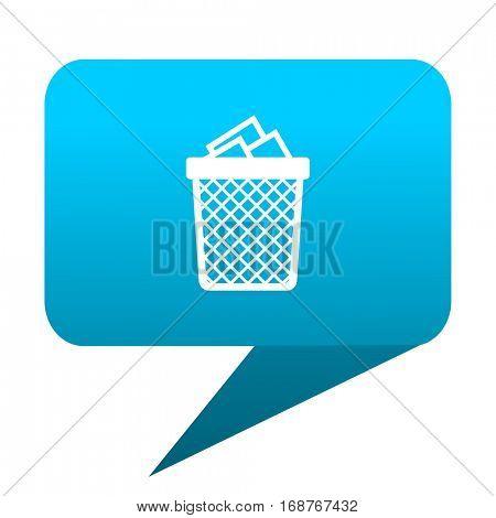 Trash can blue bubble icon