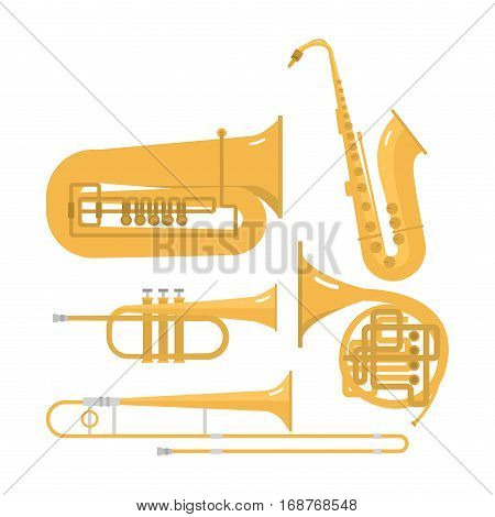 Musical instruments isolated under white background. Blow blare studio acoustic shiny musician equipment. Orchestra trumpet sound metal woodwind tool.