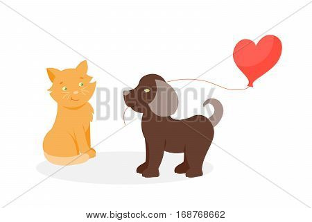 Happy smiling couple in love vector characters togetherness. Romantic animal together relationship. Attractive lifestyle beautiful happiness cat and dog illustration.