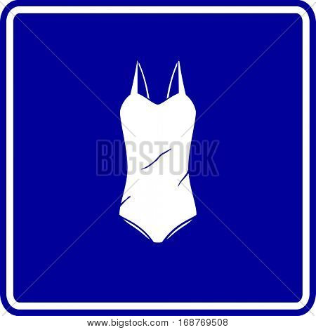 one piece women bathing suit sign