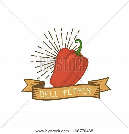 Vegetarian red pepper logo vector organic gourmet freshness cooking. Colored healthy vegetable badge food flat illustration. Seasoning nature tasty stem.
