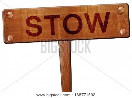 stow road sign, 3D rendering