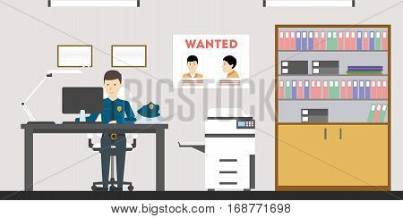 Police station office with officer on the desk. Most wanted poster on the wall.