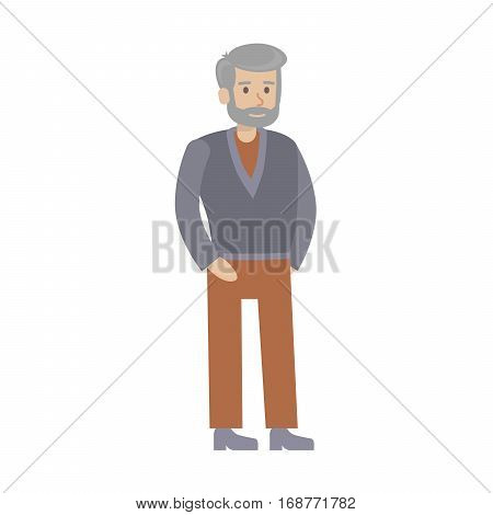 Isolated senior man on white background. Beautiful elderly character in dress. Grandfather.