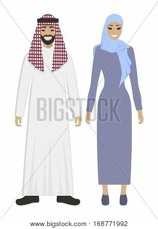 Isolated arabic couple on white background. Beautiful woman in abaya and handsome smiling man in keffiyeh.