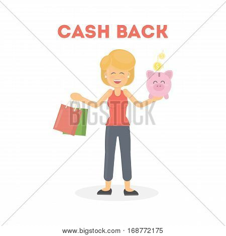 Woman gets cash back. Isolated happy smiling woman with colorful shopping bags and piggy bank.