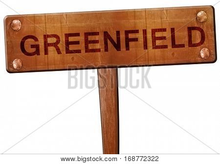 greenfield road sign, 3D rendering