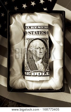 An American dollar in a casket with a US flag in sepia.