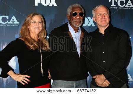 LOS ANGELES - JAN 11:  Lori McCreary, Morgan Freeman, James Younger at the FOX TV TCA Winter 2017 All-Star Party at Langham Hotel on January 11, 2017 in Pasadena, CA