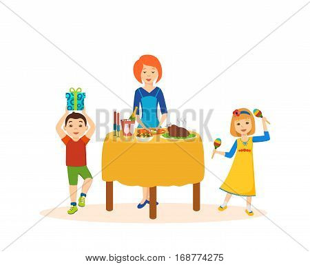Children's Party concept. Children are happy and frolic, mother prepared a festive dinner, accompanied by gifts and good mood. Cartoon vector illustration isolated on white background.