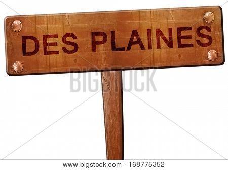 des plaines road sign, 3D rendering
