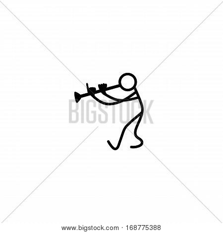 Stick figure musican man playing melody vector.