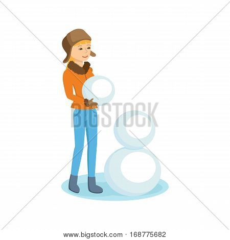People and winter play concept. Young girl in winter clothes in the park sculpts snowman. Vector illustration. Can be used in banner, mobile app, design.
