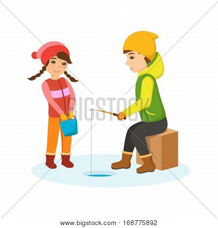 Kids favorite winter activities. Brother and sister on winter fishing. The sister in the hands of the bucket with the fish, the boy sits with a fishing rod and winter fishing. Vector illustration.