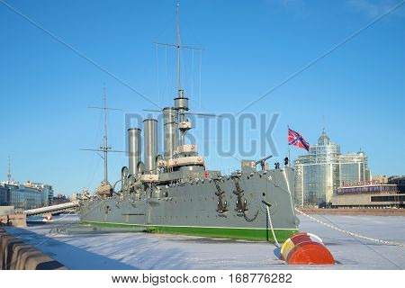 RUSSIA, ST. PETERSBURG - JANUARY 20, 2017: A view of the cruiser