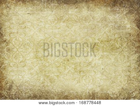 Old paper background with vintage patterns. Grunge paper texture for the design.