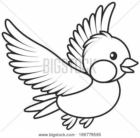 Black and white vector illustration of a small birdie flying
