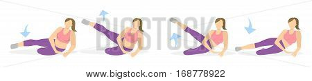 Exercise for legs on white background. Workout for legs. Exercises for fat women. Leg rising. From fat to skinny.