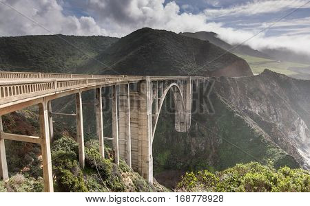 Bixby Creek Bridge from its northern end. Big Sur, Monterey County, California, USA