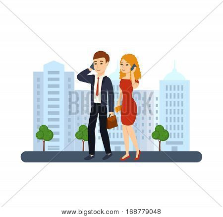 Young people with gadgets concept. A guy in a suit with a briefcase in hand and a girl in a dress with a bag on his shoulder, in office clothes talking on the phone. Vector illustration.