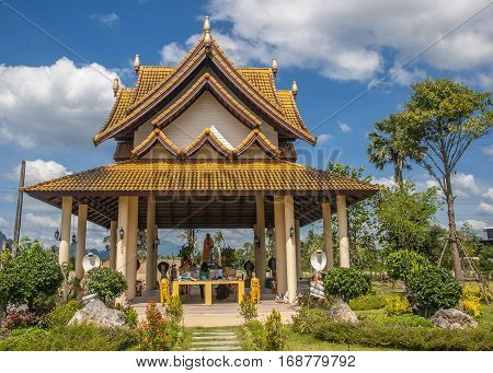Thailand Krabi Town. The open gazebo-Temple (sala) snake goddess Manasa responsible for fertility so the snakes honored women who wish to have many children.