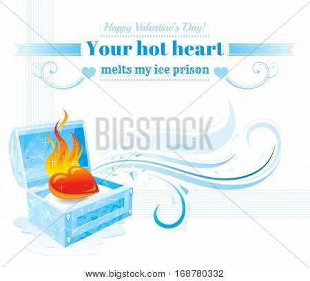 Happy Valentines day vector illustration, burning heart fire melts frozen ice treasure. Romance, love banner, isolated wave pattern, white background. Cute romantic Valentine border. Text lettering