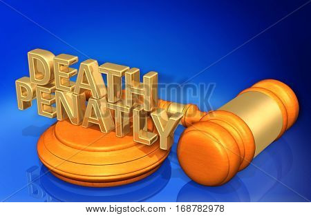 Death Penalty Legal Gavel Concept 3D Illustration