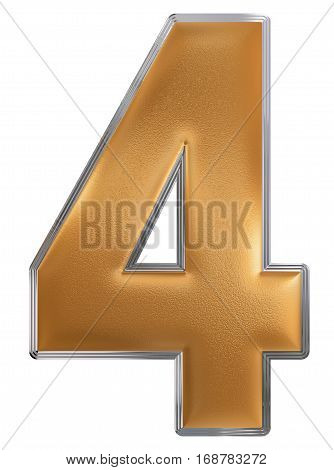 Numeral 4, Four, Isolated On White Background, 3D Render