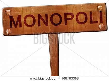 Monopoli road sign, 3D rendering