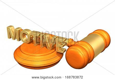 Motive Legal Gavel Concept 3D Illustration